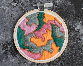 """Abstract Multicolor Embroidery Hoop - Wall Hoop Art - Handmade - 3.5"""" Hoop - Gray Purple Green Orange Brown Lines"""
