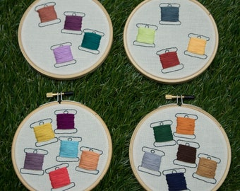 """Thread Floss Bobbins Embroidery - Multi Color Variations - 4"""" Hoop - Hand Stitched - Novelty Gift DMC Thread Organizer Wall Art"""