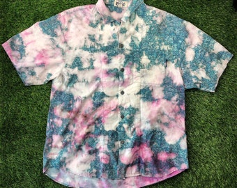 Vintage Large Hanes Tee Hand Dyed Vtg Wright Family Reunion 1992 Clean Up Your Act Aqua Glass Tie Dye Shirt Purple Pink Yellow