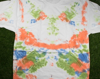 Green Orange Blue Tie Dye Shirt - Abstract Bright Multicolor 3XL Tee - Handmade - Hand Dyed - Adult Unisex Hanes Beefy T-Shirt