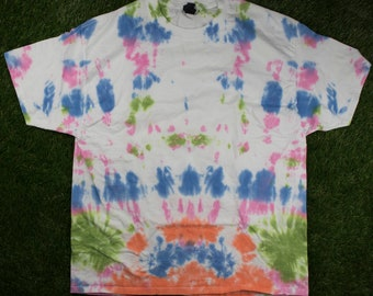 Pink Blue Green Tie Dye Shirt - Abstract Lines Multicolor XL Tee - Handmade - Hand Dyed - Adult Unisex Hanes Beefy T-Shirt