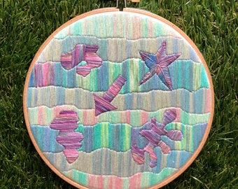 """Fighting Balance Tie Dyed Abstract Art Embroidery Hoop - Handmade - 6"""" Hoop With Mini Easel and Thread Bits Jar"""