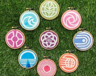 "Disney World Epcot Center Vtg Logos Set of 9 Hand Dyed Fabric 3"" Hoops Handmade"
