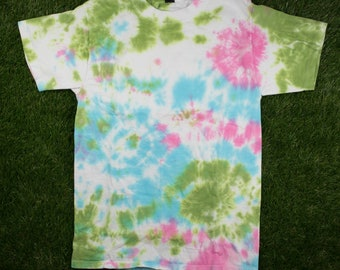 Green Pink Teal Tie Dye Shirt - Abstract Swirl Multicolor Small Tee - Handmade - Hand Dyed - Adult Hanes Beefy T-Shirt