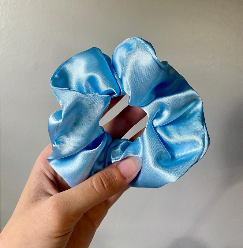 Light Blue Satin Scrunchie