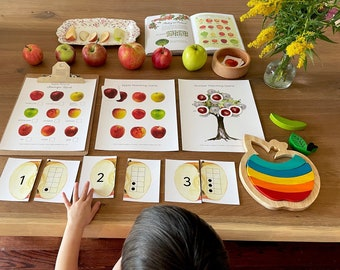 Fall Apples Flashcards, Matching and Counting, Montessori Materials Printable, Forest Schooling, Alphabet Flashcards, Homeschool Learning