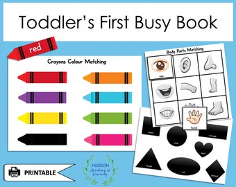 Toddler Busy Book, Printable Busy Book, File Folder Game, Learning Binder, Busy Book, Activity Worksheets, Early Learning Instant Download