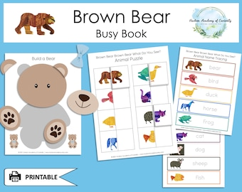 Toddler Busy Book, Brown Bear Brown Bear What Do You See, Eric Carle, Shape Sorting, Color Matching, Educational Game, Instant Download
