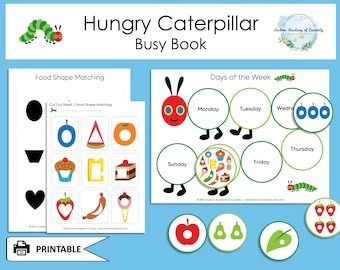 Toddler Busy Book Bundle, The Very Hungry Caterpillar, Eric Carle, Numbers Counting, Matching Activities, Educational Game, Instant Download