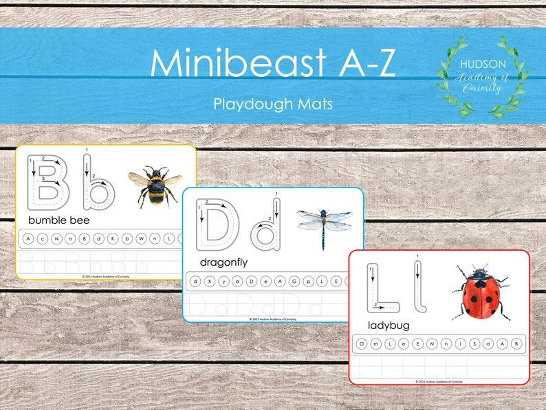 Minibeasts Play Dough Mats Playdoh Alphabet Mat Printable image 0