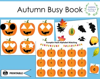 Autumn Busy Book, Fall Themed Printable, Fall Busy Binder, Toddler Busy Book, Preschool Printable Activity Worksheets, Homeschool Learning