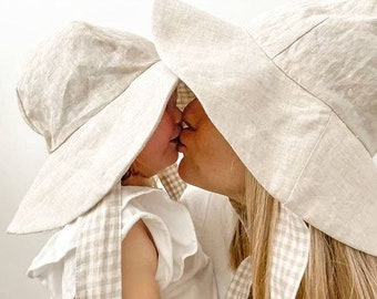 Mum and Mini Matching linen Reversible Sun Hat - Gingham
