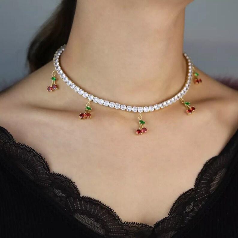 Cherry tennis necklace