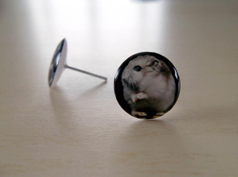 Original handmade Hypoallergenic Stud Earrings 12mm round surgical stainless steel 316L Hamster STUD EARRINGS