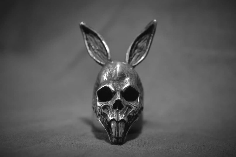 Rabbit skull ring Animal skull rings punk rock satanic image 0
