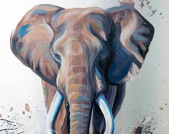 Charging Elephant Print, African Elephant Painting, Art Print