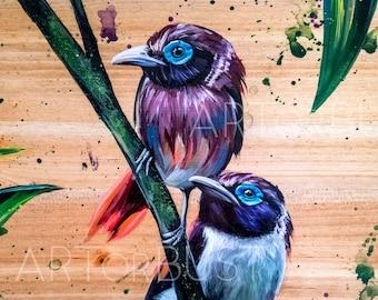 Visayan Soulmates, Tropical Bird Art, Visayan Broadbill, Philippine Art Print