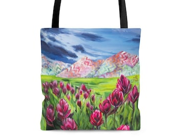 Colorful Mountains, Field of Flowers, Artwork on Tote Bag, Nature Art