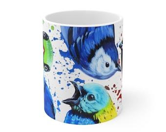 Curious Birds - Coffee Mug Art, Bird Lover Tea Lover, Painting on Cup