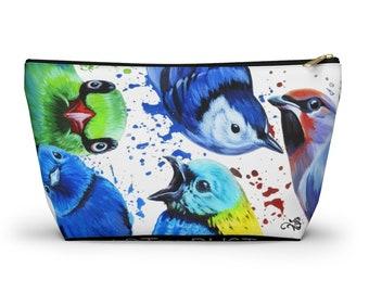 Curious Birds - Purse Pouch - Makeup Bag - Zipper Purse - Bird Art -Travel Bag
