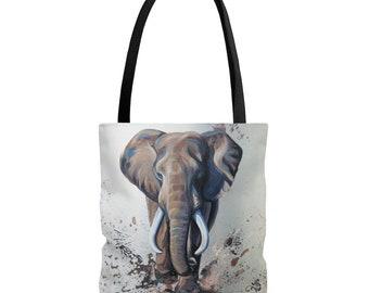 Charging Elephant - Original Artwork on Tote Bag -  African Elephant Art