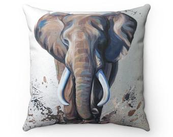Elephant Art, Decorative Pillow, African Elephant Decor