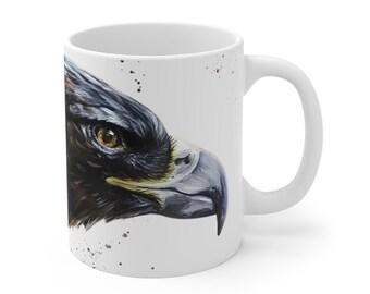 Eagle Art on Mug, Coffee Mug Art, Painting on Cup, Dishwasher Microwave Safe