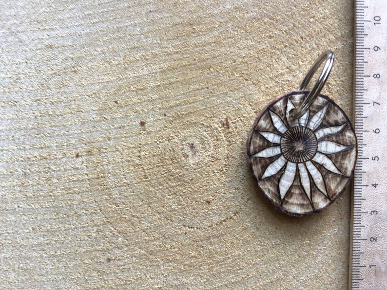 Wooden pendant with key ring handmade jewelry made of natural materials tree disc around 4 cm