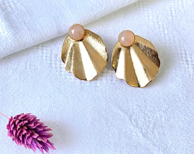 Featured listing image: GARANCE earrings stone thin stone round pink quartz and removable corrugated sequin