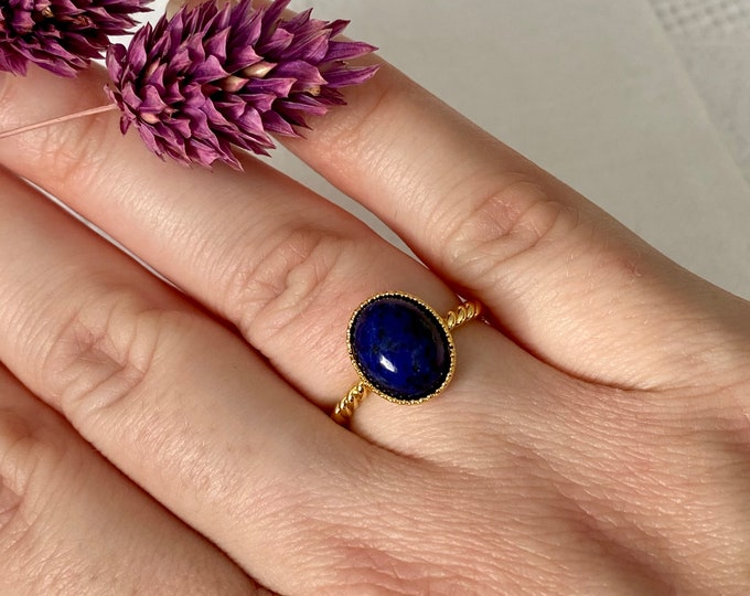 Featured listing image: Ariane Golden twisted ring and fine stone lapis lazuli