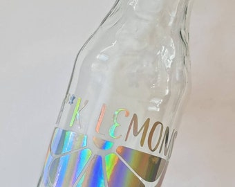 260ml Glass Bottle with holographic Decal - custom text - perfect drinking «glass» for redwine, whitewine, water or any liquid
