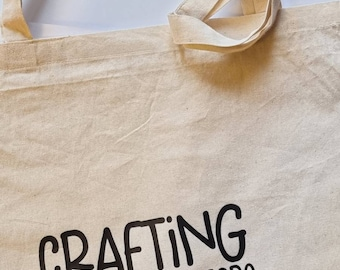 Totebag - Crafting comes before housework in the dicrionary, as it should - Organic Cotton, Natural Colored Cotton Totebag - Black Text