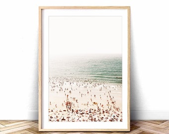 People at Beach, Beach Wave Wall Art, Large Aerial Beach Poster, Printable Waves Art, Large Aerial Printable Photography, Ariel Beach Photo