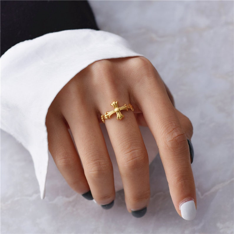 Vintage Cross Ring Stacking Ring Jesus Ring Gold Cross Ring Adjustable Ring Gold Chunky Ring Thumb Ring Minimalist Ring Thick Gold Ring