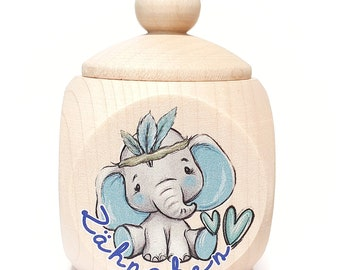 1x Wooden can milk tooth can Elephant Young teeth