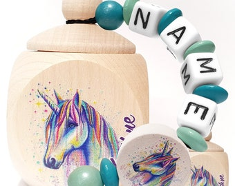 1x Wooden can milk tooth can horse rainbow with name personalized dental can