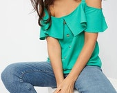 Green Mock Button Down Cold Shoulder Elegant Woven Blouse Top Vintage Retro Style Clothing Apparel