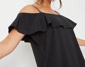 Black Embellished Strap Cold Shoulder Glam Blouse Top Vintage Retro Style Clothing Apparel