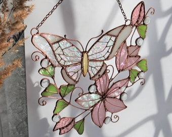 Pink Suncatcher Monarch Butterfly Flower Stained Glass Picture Home House Decor Panel Ornament Window Wall Hanging Light Cling Pendant
