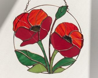 Poppy seed Flower Red Suncatcher. Stained glass Home Decor Panel Pendant Garden Window Wall Teacher Hangings