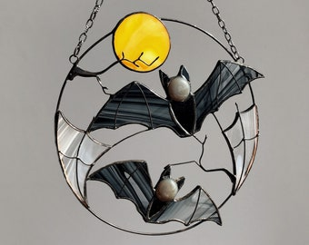 Gothic Suncatcher Bat Moon Halloween Stain Glass Horror Picture Home Decor Panel Spooky Ornament Window Wall Hanging Dark Cling Witch gift