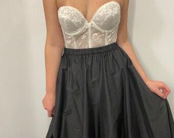 Vintage 90s black taffeta full silk ball gown skirt