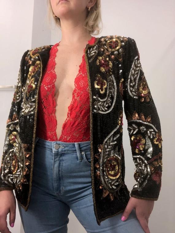 Vintage 1980s Floral Sequin Beaded Blazer Jacket M
