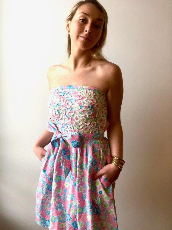 Vintage 1960s Lilly Pulitzer Pastel Strapless Dres