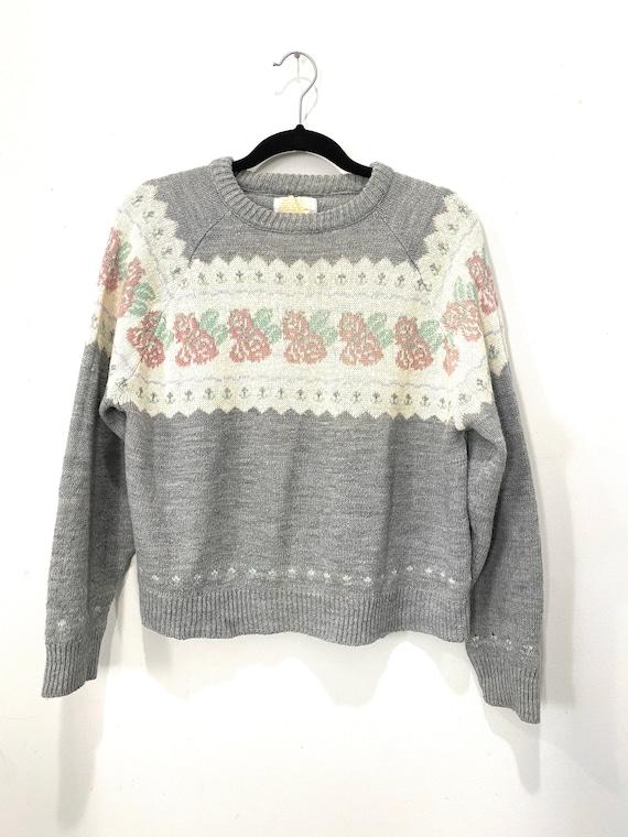 Vintage Cottage Core Rosebud Embroidered Knit Swea