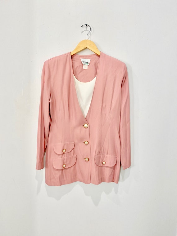 Vintage 80s Pink Blazer with Pearl Buttons & dicki