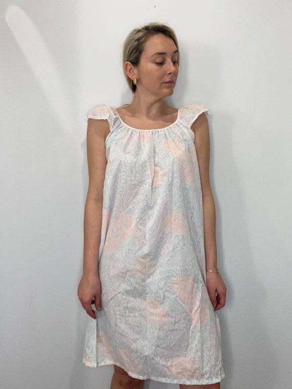 Vintage Flutter Sleeve Cotton Nightgown Dress