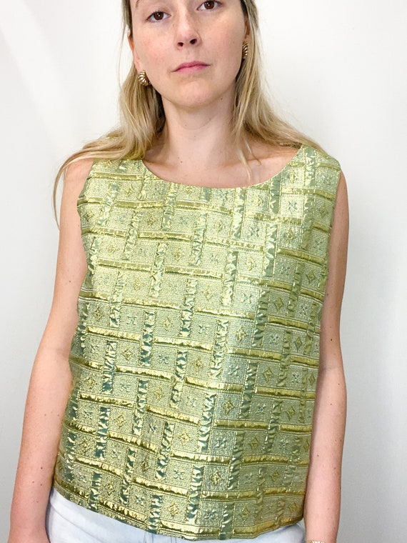 Vintage 90s Gold and Chartreuse Lamé Top and Match