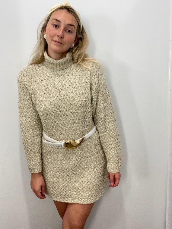 Vintage Oatmeal Oversized Turtleneck Sweater Dress