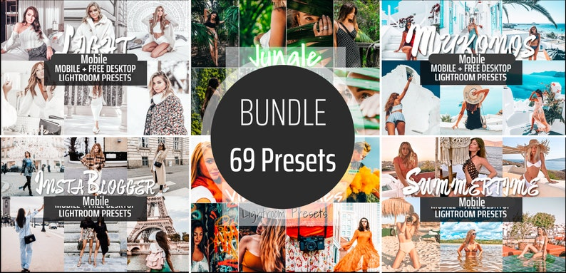 BUNDLE 69 Lightroom Presets Mobile Instagram Blogger Preset image 0